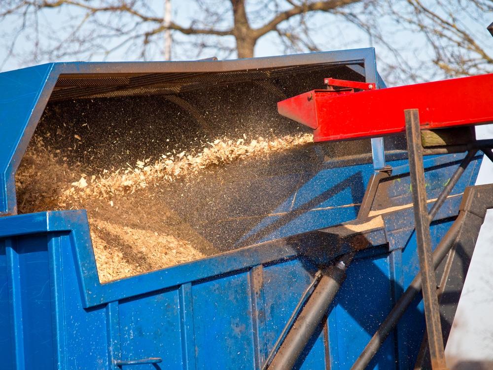 Wood chipper creating fine mulch in SC