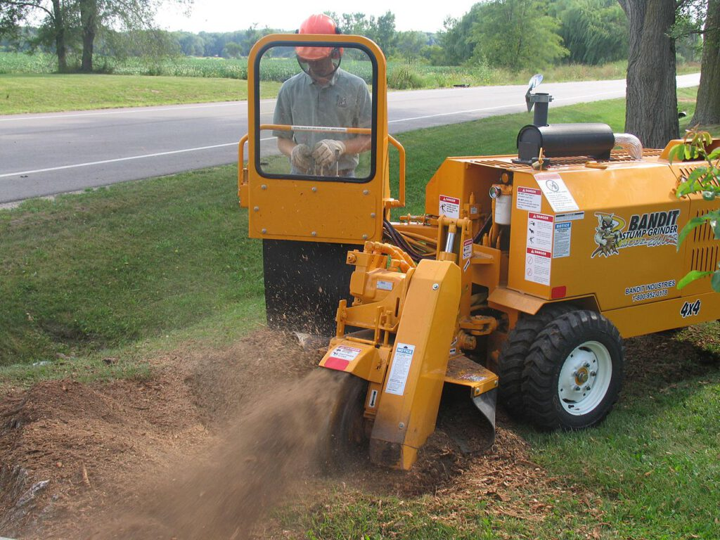 image of tree service worker using stump grinder effectively